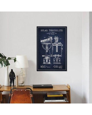 """East Urban Home 'J.W. Holmes Solar Theodolite Patent Sketch' Graphic Art Print on Canvas in Navy Blue ERBR0179 Size: 18"""" H x 12"""" W x 0.75"""" D"""