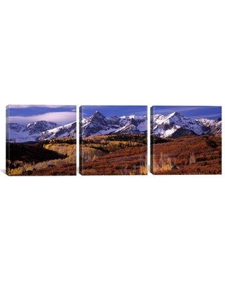 """Latitude Run Snowy Mountains and Fall Telluride Colorado 3 Piece Photographic Print on Wrapped Canvas Set LATT5267 Size: 30"""" H x 90"""" W x 1.5"""" D"""
