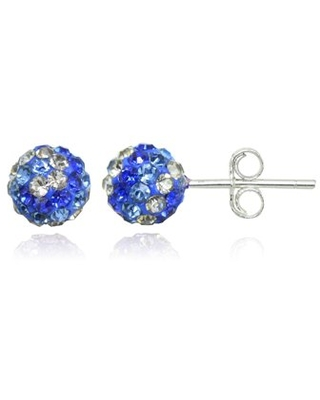 Sterling Silver Blue and White Tonal Crystal Fireball Stud Earrings, 6mm