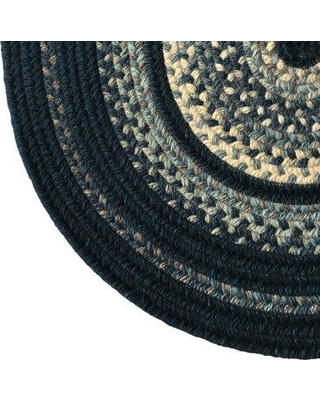 """Millwood Pines Barker Hand-Braided Wool Blue Area Rug W001098518 Rug Size: Round 36"""""""