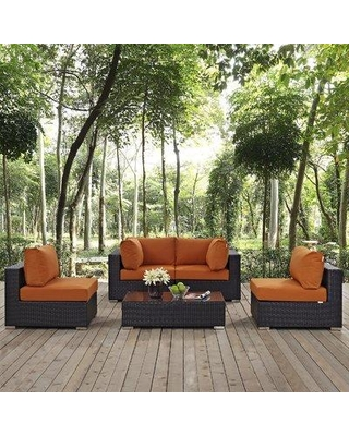 Sol 72 Outdoor™ Brentwood 5 Piece Rattan Sectional Seating Group with Cushions X112488253 Fabric: Orange