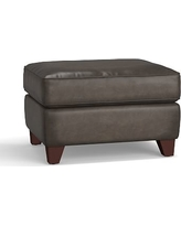 Cameron Leather Ottoman, Polyester Wrapped Cushions, Leather Burnished Wolf Gray