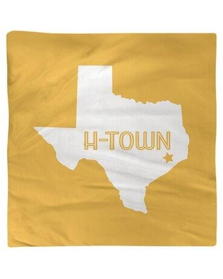 """East Urban Home H-Town Texas Napkin FCKL9048 Color: Yellow Size: 10"""" W x 10"""" D Material: Cotton"""