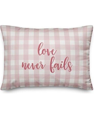 Ebern Designs Severn Love Never Fails Throw Pillow W001056933 Color: Pink