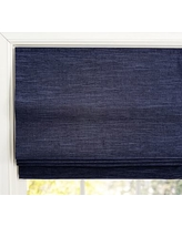 "Custom Emery Cordless Roman Shade, 37 x 48"", Navy"