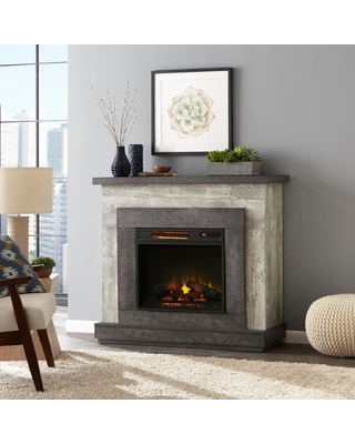 Deals For Home Decorators Collection Wildercliff 45 In Freestanding Wall Mantel Electric Fireplace In Driftwood Brown