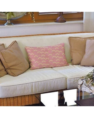 Full Color Lined Chevrons Lumbar Pillow (Yellow Red & Pink - Polyester)
