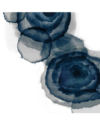 """GIANT ART 84 in. x 84 in. """"Blotted Ink I"""" by Tom Reeves Canvas Wall Art, white - blue"""