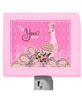 """Oopsy Daisy Be-You-Tiful Night Light, Pink Be-You-Tiful Peacock, 5"""" x 4"""" (NB17998)"""