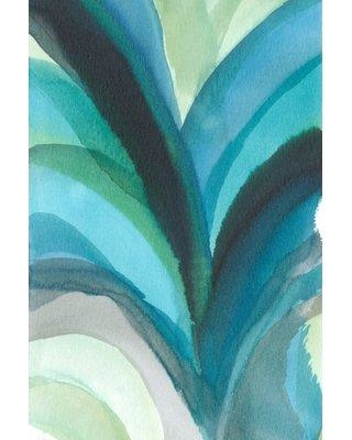 "Marmont Hill ""Blue Leaf Splash"" Painting Print on Wrapped Canvas MH-WAG-31-C- Size: 45"" H x 30"" W x 1.5"" D"