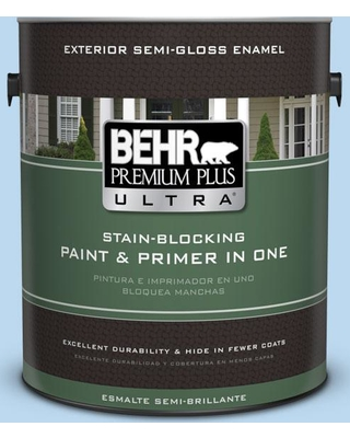 BEHR ULTRA 1 gal. #P520-1 First Rain Semi-Gloss Enamel Exterior Paint and Primer in One