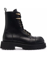 Horn-charm Chunky Leather Ankle Boots - Black - Roberto Cavalli Boots