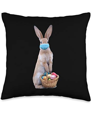 Easter Bunny Quarantine 2021 Gifts Bunny in Face Mask with Chocolate Eggs Easter Basket Throw Pillow, 16x16, Multicolor