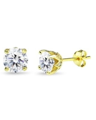 ICZ Stonez Sterling Silver 6mm Crown Stud Earrings Created with Swarovski Zirconia (Yellow)