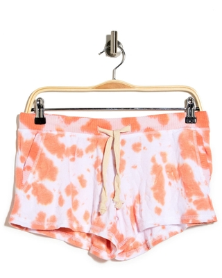 THEO AND SPENCE Tie-Dye French Terry Pajama Shorts, Size Small in Peach at Nordstrom Rack