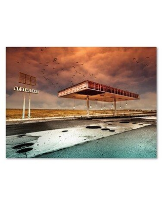 "Trademark Fine Art 'Gaz Bar Blues' Photographic Print on Wrapped Canvas 1X02909-C Size: 18"" H x 24"" W"