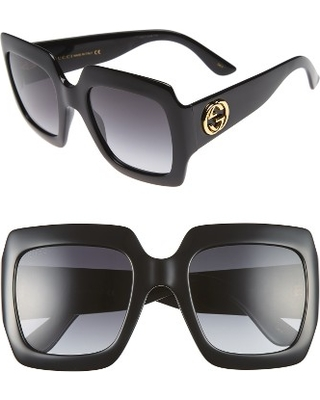 5ea06649b5 Remarkable Deal on Women s Gucci 54Mm Square Sunglasses - Black  Grey