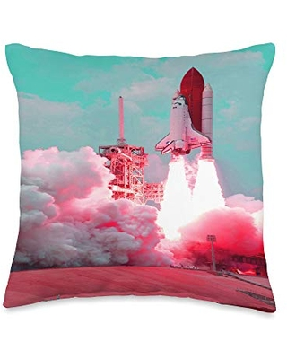 Renerded Pastel Space Shuttle Lift Off Throw Pillow, 16x16, Multicolor