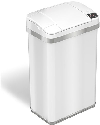 iTouchless 4 Gallon Fragrance Trash Cans with AbsorbX Odor Filter, 04 Gal Sensor Pearl White