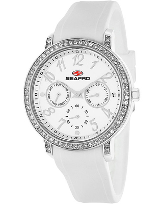 Seapro Womens Swell Silver Dial White Silicone Strap Watch, One Size