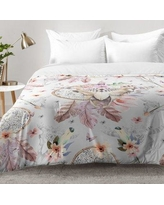 East Urban Home Bohemian Dreamcatcher and Skull Floral Comforter Set EAHU7610 Size: Twin XL