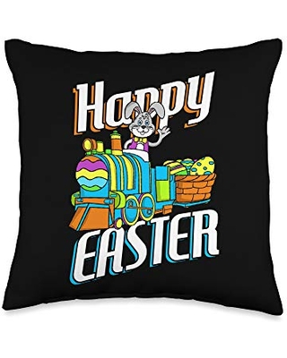 Easter Egg Hunt Merch Co Happy Easter Rabbit Bunny Egg Hunting Train Basket Gift Throw Pillow, 16x16, Multicolor
