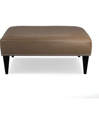 """Fairfax Square Ottoman, Tapered Leg, Untufted 42"""", Italian Distressed Leather, Toffee, Polished Nickel"""