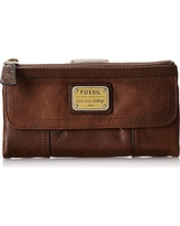 Fossil Women's Emory Leather Large Zip Wallet, Espresso