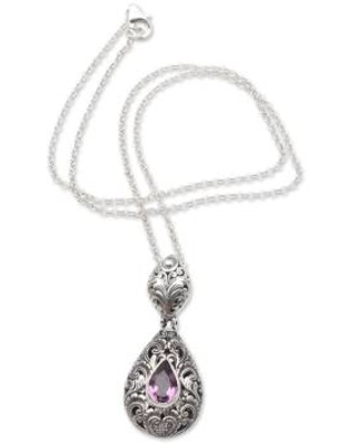 Hand Crafted Amethyst and Sterling Silver Necklace