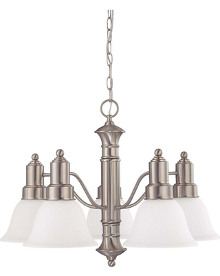 Glomar 5-Light Brushed Nickel Chandelier with Frosted White Glass Shade