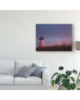 """Highland Dunes 'Lighthouse at Dusk' Acrylic Painting Print on Wrapped Canvas W000730895 Size: 35"""" H x 47"""" W 2"""" D"""