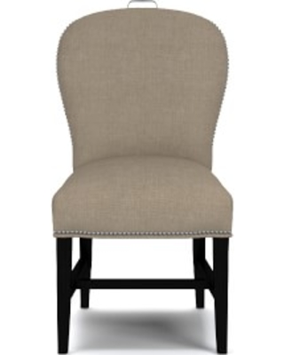 Maxwell Dining Side Chair with Handle, Performance Linen Blend, Stone, Polished Nickel