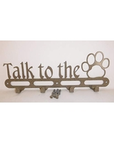 With Screws. Hand Made in USA Satin Black Color Dog Collar Leash Wall Hanger Talk to the Paw