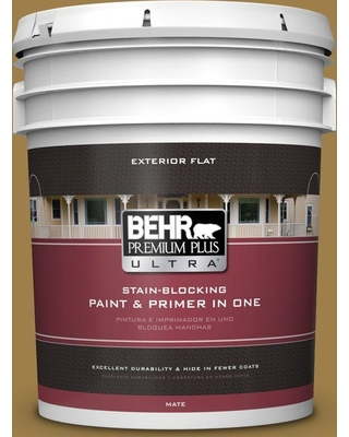 BEHR ULTRA 5 gal. #S310-6 Gold Ink Flat Exterior Paint and Primer in One