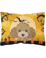 The Holiday Aisle Livingon Halloween Poodle Fabric Indoor/Outdoor Throw Pillow BI148614 Color: Chocolate/Brown