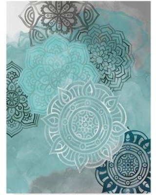 """East Urban Home 'Ink Blot Mandala II' Acrylic Painting Print on Wrapped Canvas W000113567 Size: 47"""" H x 35"""" W x 2"""" D"""
