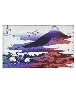 East Urban Home Japanese Cranes Chenille Purple/Red Area Rug FCLR9679 Rug Size: Rectangle 2' x 3'