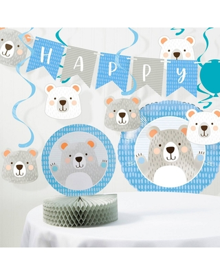 """Happy Birthday"" Bear Print Party Decoration Kit, White Gray Blue"