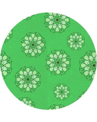 East Urban Home Floral Wool Green Area Rug X113660164 Rug Size: Round 5'