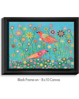 """DiaNocheDesigns 'Bohemian Birds' by Sascalia Painting Print on Wrapped Framed Canvas DNOC2099 Frame Color: Black Size: 13.75"""" H x 17.75"""" W x 1.75"""" D"""