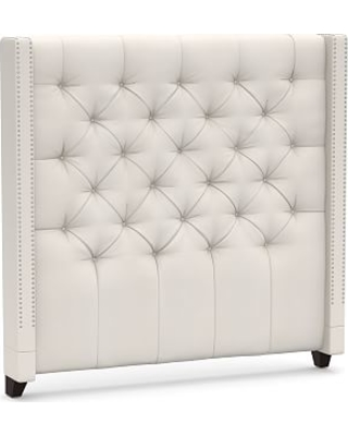 Harper Upholstered Tufted Tall Headboard with Pewter Nailheads, Queen, Denim Warm White