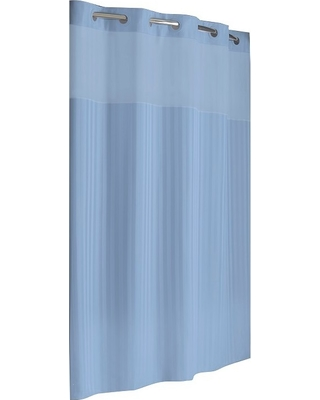 Hookless Victorian Satin Stripe Shower Curtain With Liner Blue