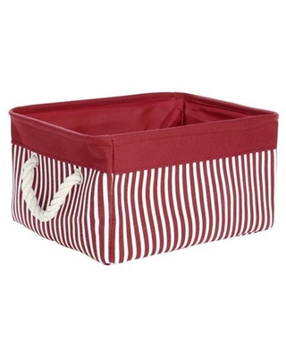 Storage Basket Bin, Collapsible Laundry Basket with Rope Handles, Decorative Fabric Basket for Shelves Office Closet Organizer, Red (Small.