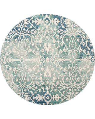 """Blue/Ivory Floral Loomed Round Area Rug 6'7"""" - Safavieh, Size: 6'7"""" ROUND, White Blue"""