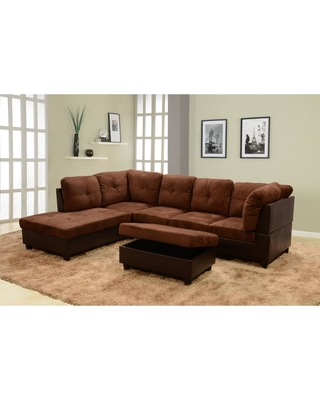 Star Home Living Chocolate Microfiber 3-Seater Left-Facing Chaise Sectional Sofa with Ottoman, Brown