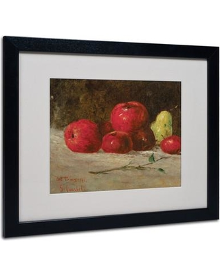 "Trademark Fine Art 'Apples and Pears' Framed Print on Canvas BL01422 Frame Color: Black Size: 16"" H x 20"" W x 0.5"" D"