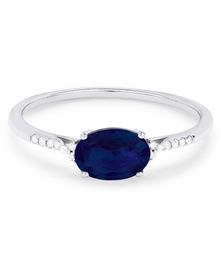 14k White Gold Ring with .69ct Oval Blue Created Sapphire and 0.04ct Round White Diamonds