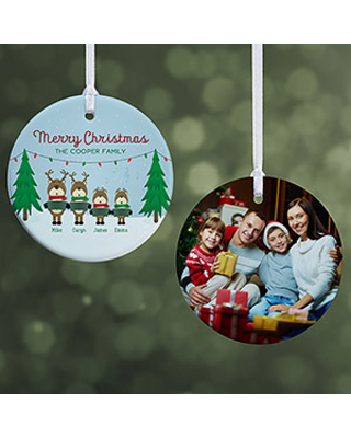 Personalized Reindeer Family Christmas Photo Ornament