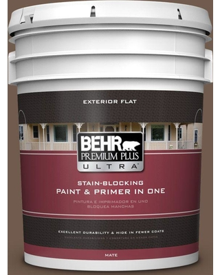 BEHR Premium Plus Ultra 5 gal. #ppf-52 Rich Brown Flat Exterior Paint and Primer in One