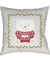 """The Holiday Aisle Beary Warm Indoor/outdoor Throw Pillow HLDY4832 Size: 18"""" H x 18"""" W x 4"""" D"""